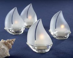 Set Sail Sailboat Glass Tealight Holder (Set of 3)