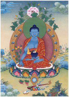 Thangka painting featuring Bhaisajyaguru: the Medicine Buddha and master of physical and spiritual healing.