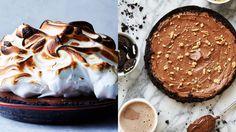 S'mores taart Chocoladetaart met pindakaas en Oreo's IJs-cupcakes Chocolade meringue taart Aardbeienroomtaart Nutella taart Chocolade cheesecake Chocoladetaart met munt