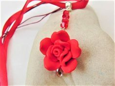 Red Rose and Crystal Pendant Necklace on a Red Ribbon Necklace £12.50