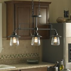 Shop allen + roth Bristow 36-in W 3-Light Mission Bronze Kitchen Island Light with Clear Shade at Lowes.com