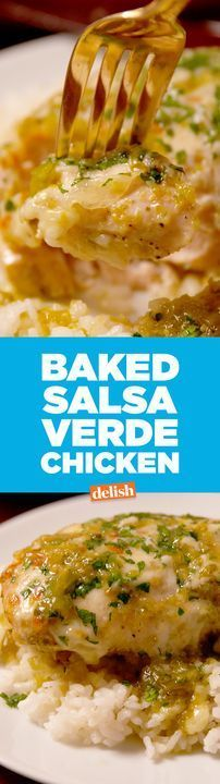 Baked Salsa Verde Chicken will spice up your weeknights. No rice of course! Turkey Recipes, Mexican Food Recipes, New Recipes, Chicken Recipes, Dinner Recipes, Cooking Recipes, Healthy Recipes, Baked Chicken, Chicken Ideas