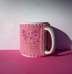 Knitted Mug Cozy Pink with Pink Bow by KatysKnitKnacks on Etsy, $7.00