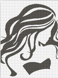 0 point de croix monochrome fille - cross stitch girl long hair