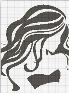 0 point de croix monochrome fille - cross stitch girl long hair