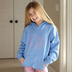 Girls Blue Hooded Sweatshirt with Initials – Lolly Wolly Doodle