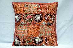 16''INDIAN RED PATCHWORK DECORATIVE HANDMADE PILLOW CUSHION COVER bohemian
