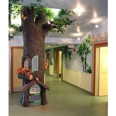 Faux indoor trees 2 Enchanted Forest Theme, Enchanted Book, Fairy Bedroom, Preschool Rooms, Indoor Trees, School Decorations, Library Decorations, Classroom Environment, Learning Centers