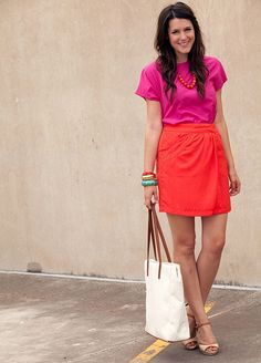 orange skirt , pink blouse