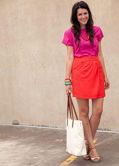 orange skirt , pink blouse