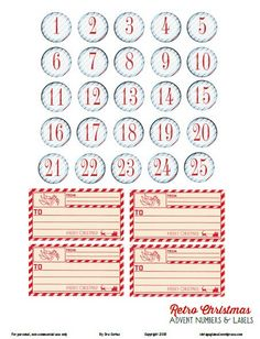 Free Retro Christmas Advent Numbers and Labels from Vintage Glam Studio