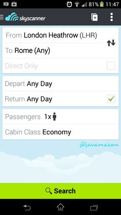 Ыkyscanner app ...Planning my vacation for Rome trip was made easy with skyscanner app and it has saved my every penny and offered me great deals through..