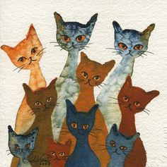 Luell Stray Cats | Lori Alexander | http://www.straycatartbylorialexander.com/whimsical-cats