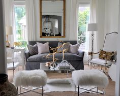 Crazy for Cowhide - Design Chic - perfect living room layout - great mirror and love the fur stools!