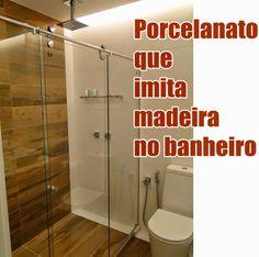 Jeito de Casa: 12 Banheiros e lavabos com porcelanato que imita m...