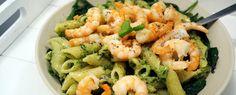 Pasta met basilicumpesto, garnalen en spinazie | Gewoon wat een studentje 's avonds eet | Bloglovin'