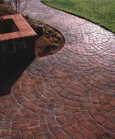 Fan Pattern, Brick Stamped Concrete