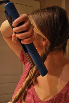 Twist Your Hair into a Ponytail and Flat-iron the Twist to Make Waves.