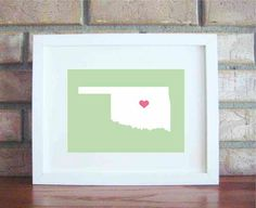 Customize Your Home Is Where The Heart Is - Oklahoma 8x10. $25.00, via Etsy. Could I make this?