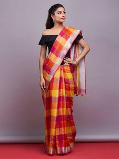 The Loom- An online Shop for Exclusive Handcrafted products comprising of Apparel, Sarees, Jewelry, Footwears & Home decor. Indian Attire, Saree Blouse Designs, Red And Pink, Indian Fashion, Loom, Sarees, Affair, Bag Accessories, Ethnic