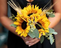 @curiouscountry posted to Instagram: Creating the perfect summer wedding?  Get inspired by this bridesmaid bouquet-- sunflowers, seeded eucalyptus, and stalks of triticum wheat come together in this simple but colorful and unique design.   #weddinginspo #weddingreception #receptionideas #bohowedding #weddingideas #weddingdecor #weddingbouquet #bridetobe #bridalbouquet #weddingdecor #weddingseason #weddingparty #weddinginspiration #summerwedding #sunflowers #weddingflowers #weddingdetails #instab
