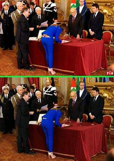 Fake - A revealing photoshopped image of Maria Elena Boschi(Mary Helen Woods). - She is an Italian lawyer, politician and current Minister of Constitutional Reforms. She was appointed to this charge on 22 February 2014 by prime minister Matteo Renzi and is seen in the unaltered image, on the bottom, at the signing.