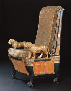 THE RAMSES THRONE AN ARMCHAIR AFTER A PAINTING ON THE WALL OF THE TOMB OF RAMSES III INCLUDED IN LE DESCRIPTION DE L'EGYPTE French. Circa 1805.