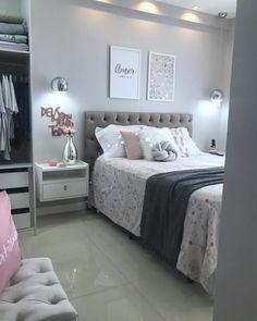 Cores para quarto: 130 ideias que vão te ajudar a dormir melhor Grey Bedroom Decor, Bedroom Decor For Teen Girls, Room Ideas Bedroom, Stylish Bedroom, Small Room Bedroom, Bedroom Layouts, Bedroom Colors, Tumblr Room Decor, Teen Bedroom Designs