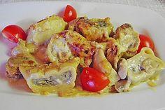 Maultaschen in Champignon Sahne Sauce