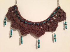 Warm brown crochet necklace with inlet and drop by LaceryModerne