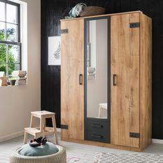 Tall Cabinet Storage, Locker Storage, Armoire D'angle, Hall Wardrobe, Living Room Decor, Bedroom Decor, Cork, Hanging Rail, Mirror Door