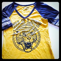 Wild love raglan tiger shirt/yellow/gray Yellow and gray raglan wild love tiger tee. Very cute No brand Tops Tees - Long Sleeve