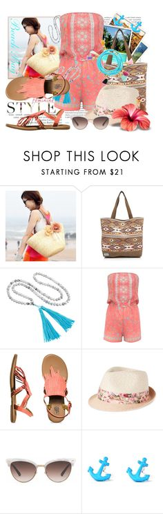 """""""Beach Bag"""" by tasha1973 ❤ liked on Polyvore featuring Oris, Sunset Hours, TOMS, Helix & Felix, Lipsy, Vans, Nine West and Gucci"""