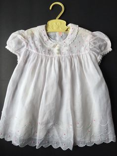 Vintage Light Pink Cotton Batiste Baby Dress White Slip Embroidered Scallop Hem