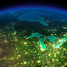 A night on Earth – Some trully amazing photographs of Earth seen from A series of beautiful and impressive photographs from NASA, which reveals the nocturnal beauty of the Earth seen from space. Michigan Travel, State Of Michigan, Northern Michigan, Lake Michigan, Wisconsin, Michigan Facts, Lansing Michigan, Michigan Vacations, Satellite Photos Of Earth