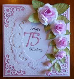 Handcrafted By Helen 75th Birthday Card For My Mum Cards Handmade