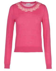 REDValentino - dot tulle appliqued collar on a bright pink sweater. Perfect for spring.