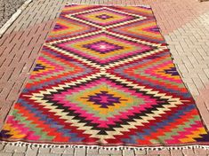 Turkish Kilim rug area rug x rug kelim by PocoVintage Teal Rug, Pink Rug, Eclectic Nursery Decor, Tapetes Vintage, Mexican Rug, Deco Boheme, Unique Rugs, Cool Rugs, Traditional Rugs