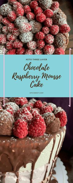 "This mousse cake is made with three layers of irresistible mousse: milk chocolate, raspberry, and ""white chocolate."" You won't even know it's keto it's so delicious! Chocolate Raspberry Mousse Cake, Milk Chocolate Ganache, White Chocolate, Chocolate Cake, Frosting Recipes, Cake Recipes, Dessert Recipes, Fruit Recipes, Healthy Recipes"