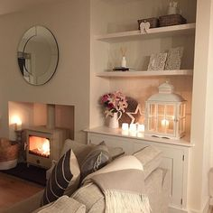 Evening all, candles lit and fire going ready for a cosy family evening! Some careful photography skills to show a part of the living room that is pretty much finished, the other alcove is still without doors! The joys of living with a carpenter! Cottage Living Rooms, New Living Room, Living Room Interior, Home And Living, Living Room Without Fireplace, Alcove Ideas Living Room, Cosy Living Room Small, Small Living, Modern Living