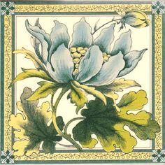 Blue Peony Victorian Tile