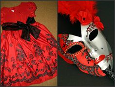Used a little girls festive dress to embelish a store bought plain mask. Fabric from a dress, woven ribbon around the eye, glitter, my favortie nail polish for red lips, some precise cutting, and a few feathers...  Masquerade Mask. This project cost me Six $ out of pocket.