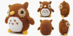 """A 4"""" tall amigurumi of a little owl. The pattern is available on Ravelry or you can find it written below. If you have any questions, feel free to email me at icrochetthings@gmail.com. Materials: ▪ thanks so xox ☆ ★   https://uk.pinterest.com/peacefuldoves/"""