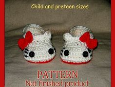 Hello Kitty Slippers, Child-Preteen sizes, Photp prop - Crochet Pattern 45