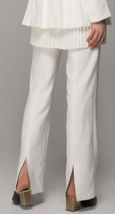 Love the Design of these Pants! Love the Sexy Back Slits! Winter White Couture Style Trousers with Split Side in Wide Leg #Winter #White #Trousers #Couture #Style #Pants #Fashion