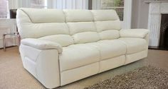White Leather Lazy Boy Sofa