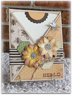 Card created by Tamytha Jenkins of www.paperheartist.com  Uses Close To My Heart Buzz and Bumble paper, CTMH Hello Blooms and Honeycomb stamps, as well as the Cricut Artiste.