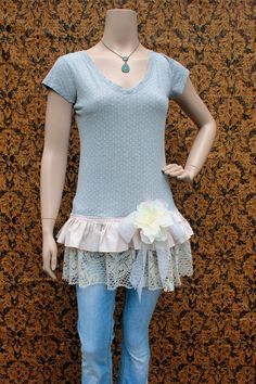 REVIVAL Upcycled TShirt Shirt Tunic, Women's Shabby Chic Lace, Med to Large, Polka Dot, Grey, Drop Waist, Recycled, Repurposed, EcoFriendly