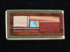 Wood Inlay Money Clip - Geometric Design with Turquoise (PASW-MCC022) #Handmade