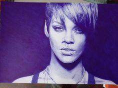 Blue pen drawing of Rihanna